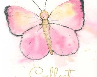 Girls Pink Butterfly Wall Art - Cute Butterfly Room Decor - Inspirational Wall Decor - Butterfly Nursery Art Print - Watercolor Butterfly