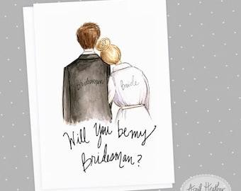 BridesMAN PDF Blonde Bride and Brunette BridesMAN, Will You Be My BridesMAN card PDF printable card