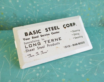 Vintage Extra Long Basic Steel Corp. Advertising Clip