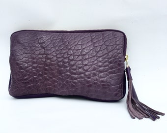 XL wallet clutch in textured washed lamb hide - purple