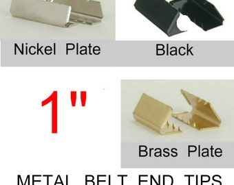 "50 Pieces - 1"" - Metal Belt End Tip - BLACK, NICKEL or BRASS Plate Finish"