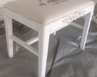Shabby French Vintage Vanity Bench Wood Painted Cottage White