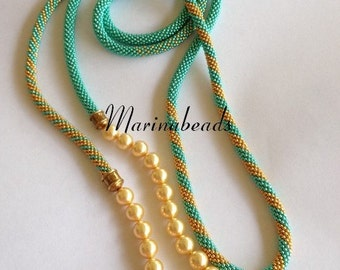 """Pattern  """"Bead crochet with pearl"""" necklace"""