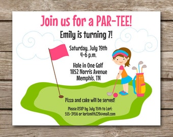 PRINTABLE Mini Golf Invitation, Miniature Golf Invitation, Golf Invitation, Golf Birthday Invitation, Girls Golf Party, Golf Thank You Card