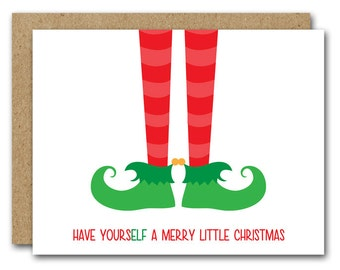 PRINTABLE Funny Christmas Card, Elf Card, Funny Elf Card, Holiday Card, Elf Feet, Holiday Greeting Card, INSTANT DOWNLOAD
