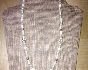 Elegant Punk Pearl & Skull Tribal Necklace