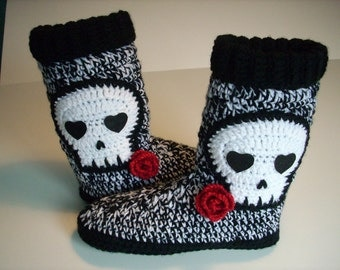 Skull Slipper size 8/9 ready to ship Boots Women teen boot slippers crochet black and white red rose handmade crocheted sz 8/9 ready to ship