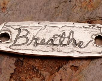 Rustic Breathe Bracelet Link in Sterling Silver, 375d