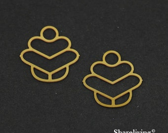 Exclusive - 10pcs Raw Brass Charm / Pendant, Fit For Necklace, Earring, Brooch - TG157
