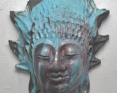 Turquoise Buddha Kwan Yin Face Mask Wall Art in Raku Ceramics
