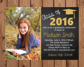 Graduation Party Invitation - College Graduation Invitation - High School Graduation Invitation - Class of 2016 - Gold - Digital - Printable