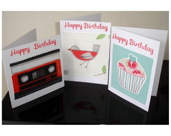 Set of Three Birthday Cards Pack of Cupcake Cassette Bird Greetings Card