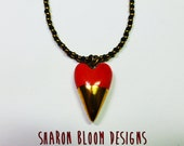 Ceramic Red Heart Necklace Handmade by Sharon Bloom Designs