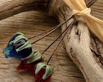 FLOWER BUDS - Ornate Flower Bud Shaped Handmade Lampwork Headpins - 4 Headpins