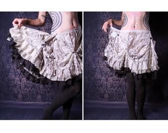 Gothic Lolita Ruffle Skirt, Cream Lace A Line Skirt, steampunk, Festival Skirt, Neo Victorian, bridesmaid skirt, shabby chic, knee length