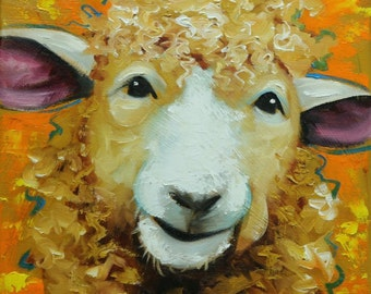 Sheep painting 25 12x12 inch original oil painting by Roz