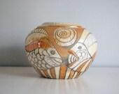 Vintage Raku Pottery Vase Studio Art Signed Randy Brodnax American Potter Orange Fish Natural Organic Round Bowl Abtract Home Decor
