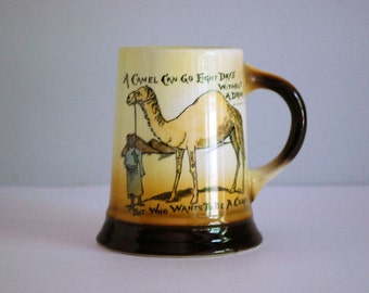 Antique Beer Mug, Anti Prohibition Souvenir, 1910s Camel Stein, Lebeau Porcelain, Ceramic Mug, Drinking Barware, Who Wants to Be a Camel