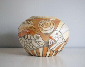 Raku Pottery Vase, Signed Studio Art, Orange Fish Pot, Randy Brodnax, American Potter, Abstract Design, Round Raku Bowl, Natural Decor