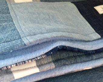 Quilt Throw Recycled Blue Jeans OOAK