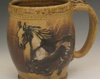 Extra Large mug with black and white paint  horses