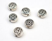 Tierracast Celtic bead, round small circle silverplated 5525 7 mm, 6 pcs