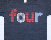 Boys FOUR shirt for 4th Birthday  - Size 4 short sleeve heather navy shirt - lettering in navy blue and red plaids