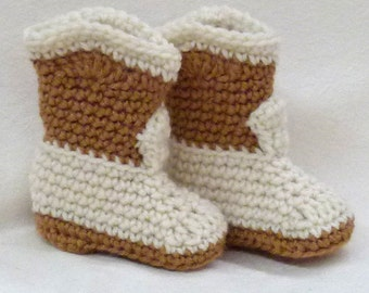Crocheted Baby Booties Cowboy Style warm brown and aran 3 - 6 months ready now