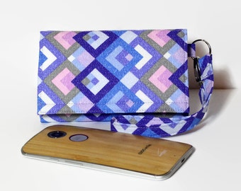 Cell Phone Wallet Wristlet, iPhone 6s Plus Wallet, Crossbody Ready, Fits Most Smartphones, LG Nexus Moto X Galaxy / Lavender Squares