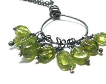 Green peridot necklace, August birthstone jewelry, green beaded necklace, birthstone necklace, gemstone jewelry, charm necklace, oxidized