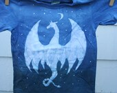 Dragon Moon Batik Kid's T-Shirt. Blue/Grey White. Size 2T. Organic Cotton. Hand Drawn Batik & Dye.