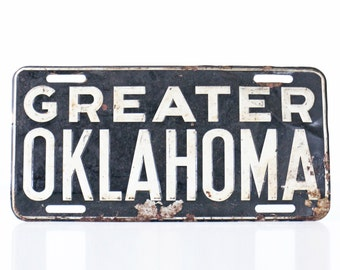 Vintage Greater Oklahoma License Plate, Sign, Car Tag
