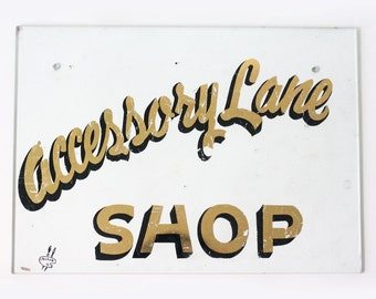 Vintage Sign, Accessory Lane Shop, Reverse Painted Glass