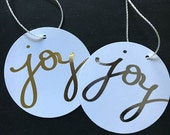 Joy gift tags - gold and silver foil