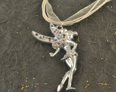 Large Fairy on White Organza Necklace CRYSTAL Studded Silver Color