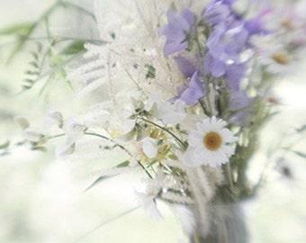 Flower Art,  Still Life Photography, Floral Art Print, Blue White Decor,  Floral Wall Decor, Fine Art Photography