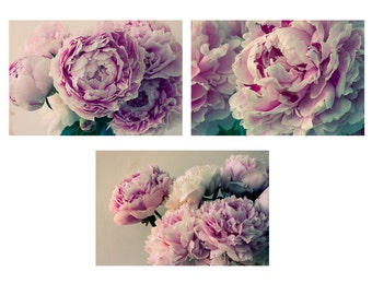 Peony Print Set, Peony Art Set, Peony Wall Decor, Bedroom Art, Flower Photo Set, Modern Decor