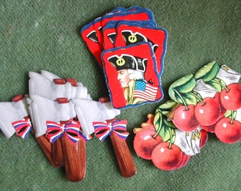 Vintage Patriotic George Washington Cherries with Hatchet Hatchet with Bows Seals Stickers 47pc