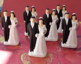 6 Vintage bride and groom bisque Japan