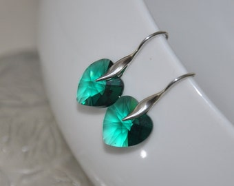 Heart Earrings, Emerald Green Earrings, Sterling Silver, Dangle Earrings, Swarovski Crystals, Emerald Green Jewelry