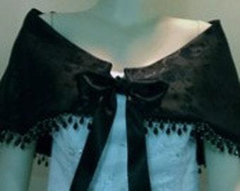 Black Satin bridal Shawl,Wedding Beaded Wrap,Formal Bridal Cape