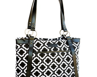 Women's Laptop Tote - Black and White Moroccan Trellis Canvas and Faux Leather Vegan Laptop Bag
