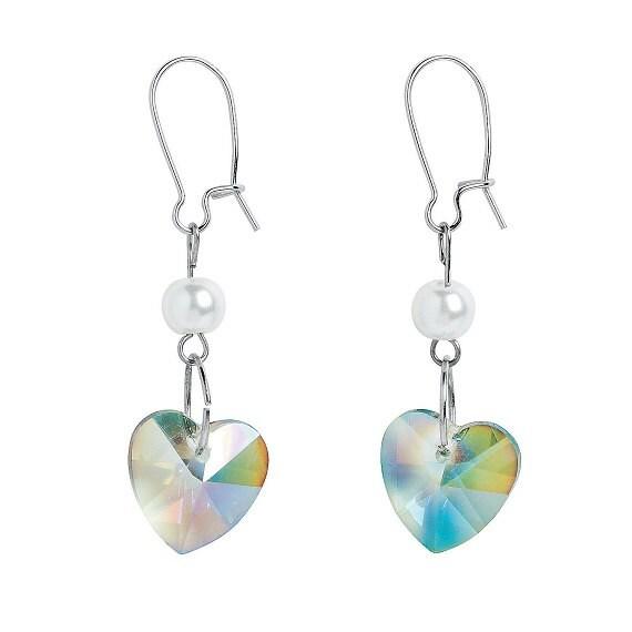 Iridescent Heart Earrings