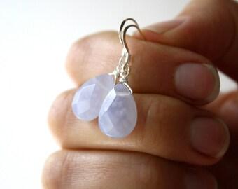 Blue Chalcedony Earrings . Blue Stone Earrings . Light Blue Dangle Earrings . Semi Precious Gemstone Earrings - Celestial Collection