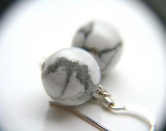 Sphere Earrings . White Howlite Earrings . White Earrings . Calming Jewelry . White Stone Earrings Sterling Silver - Arcadia Collection