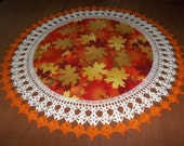 Fall Leaves, Crochet Doily, 20 Inches, Fabric Center, Crocheted Edging, Table Topper, Centerpiece, Handmade, Fall Doily, Gift, Home Decor