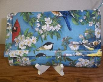Blue Birds, Canary, Cardinals, Chickadee, TriFold Wallet, Fabric Wallet, Handmade, Clutch Purse, Cell Phone Checkbook Wallet, Women's Wallet