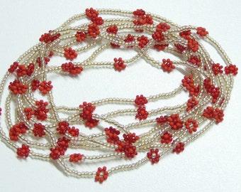 red daisy chain necklace,long bead bronze crystal chain necklace,daisy flower necklace,red necklace,wrap bracelet