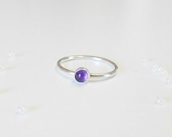 Sterling silver stacking ring with Amethyst stone,stacking ring with Garnet stone,sterling silver Boho ring,silver midi ring with stone