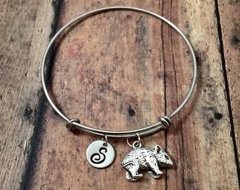 Wombat initial bangle- wombat jewelry, Australia jewelry, marsupial jewelry, Australian animal jewelry, silver wombat initial bracelet
